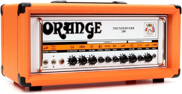 Orange Thunderverb 200 - 200/100-Watt 2-Channel Tube Head w/Attenuator Orange image 1