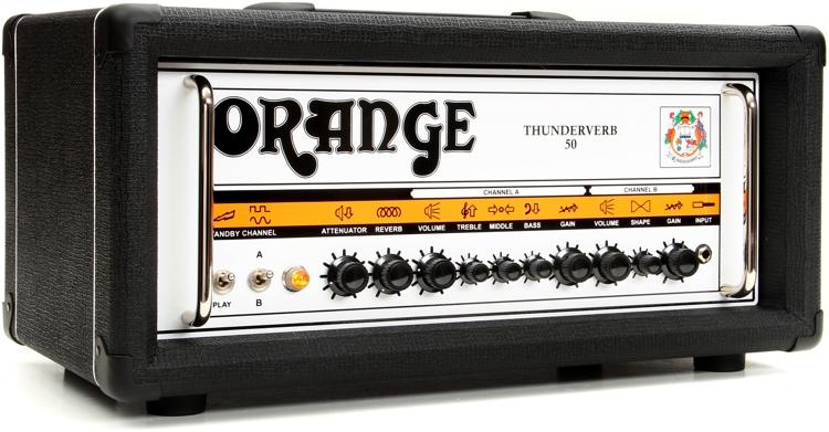 Orange Thunderverb 50 - 50-Watt 2-Channel Tube Head w/Attenuator Black image 1