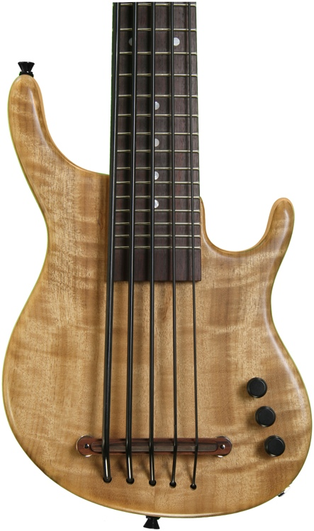 Kala U Bass Exotic Custom Solid-Body U-Bass - Figured Myrtlewood Top, 5-String, Fretted image 1