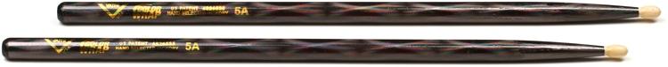 Vater Color Wrap Hickory Drumsticks - Black Optic- 5A - Wood Tip image 1