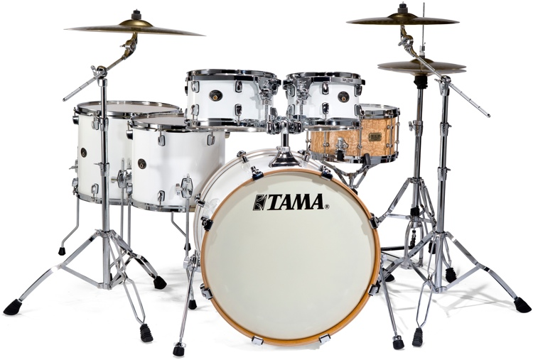 Tama Silverstar Hyper-Drive Limited Edition Shell Pack - Piano White with SLP Snare image 1