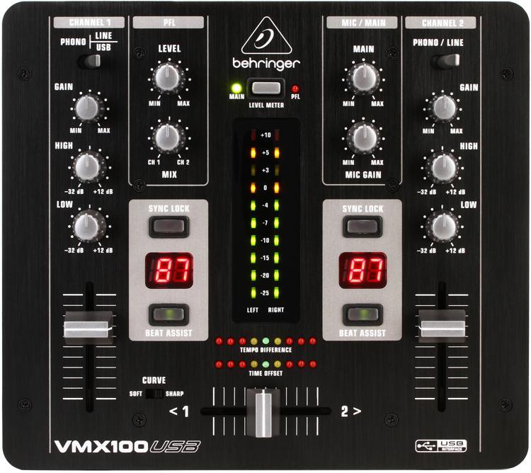 Behringer Pro Mixer VMX100USB 2-channel DJ Mixer image 1