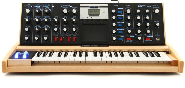 Moog Minimoog Voyager Select Series - Electric Blue with Maple Cabinet image 1