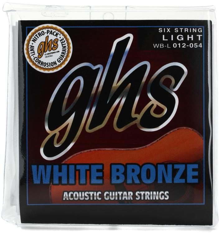 GHS WBL White Bronze Alloy 52 Light Acoustic Guitar Strings image 1