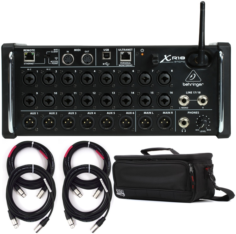 Behringer X Air XR18 Digital Mixer with Case and Cables image 1